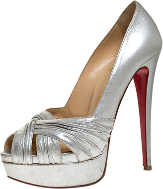 Christian Louboutin Silver Leather Criss Cross Strap Peep Toe Platform Pumps Size 38