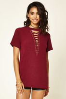 Forever 21 FOREVER 21+ Lace-Up Boxy French Terry Top