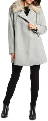 Wayne Cooper Essential Coat With Zips And Faux Fur Collar