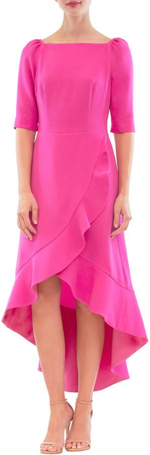 Nha Khanh Ruffled High-Low Wrap Dress