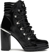 DKNY Lenni Crinkled Faux Patent-leather Ankle Boots