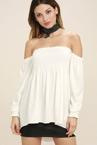 Do & Be Moonlit Drive White Off-the-Shoulder Top