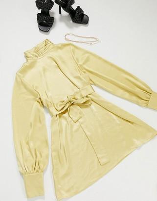 Pretty Lavish high neck shift mini dress in yellow