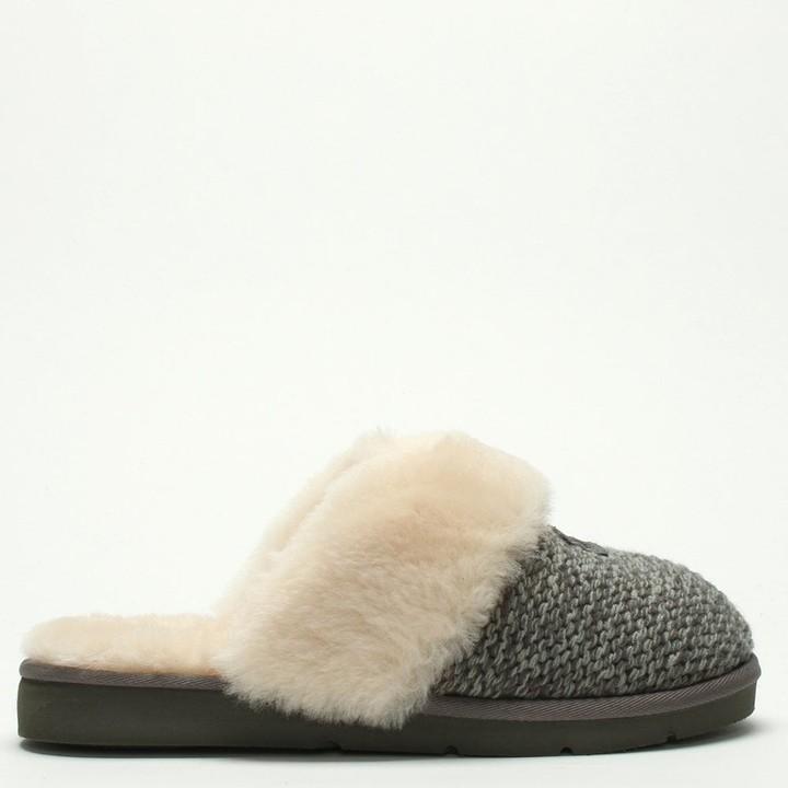bf69f84f2a4 Cozy Knit Charcoal Sheepskin Slippers