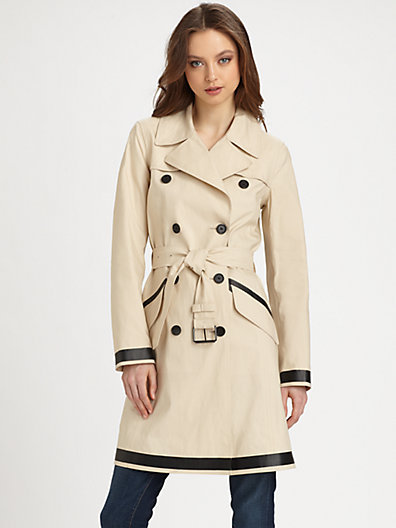 Theory Clyree Cotton Contrast-Trim Trenchcoat