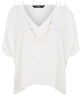 George Cold Shoulder Blouse with Necklace Attachment