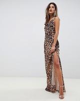 Asos Design DESIGN bias cut Animal print cami maxi dress with drape neck