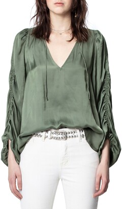 Zadig & Voltaire Twenty Ruched Sleeve Satin Blouse