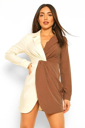 boohoo Contrast Twist Detail Blazer Dress