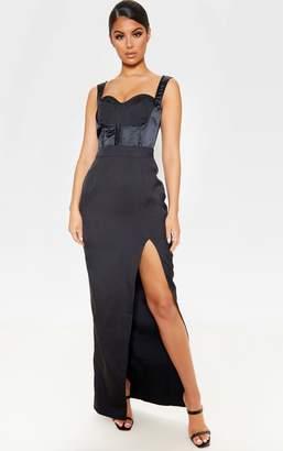 PrettyLittleThing Black Corset Detail Sleeveless Maxi Dress