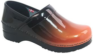 Sanita Women's Clogs 009-Orange - Black & Orange Ombre Milan Leather Clog - Women