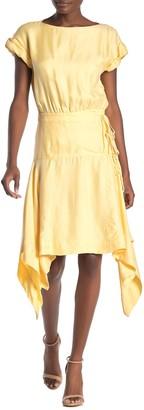 Rebecca Minkoff Yarrow Short Sleeve Sharkbite Midi Dress