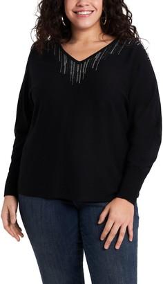 Vince Camuto Rhinestone Embellished V-Neck Sweater