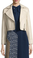 Diane von Furstenberg Valeria Leather Zip-Trim Jacket, Tan
