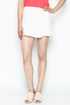 Lush White Ruffle Shorts
