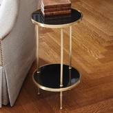 The Well Appointed House Global Views Petite Two-Tiered Accent Table in Antique Brass with Black Granite Tops