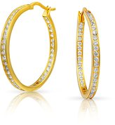 Bling Jewelry Gold Plated Silver CZ Inside Out Bridal Hoop Earrings 1.25in