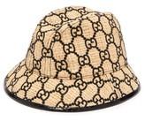 Gucci GG-logo Snakeskin-trim Raffia Bucket Hat - Womens - Black