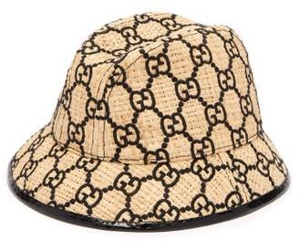 Gucci GG-logo Snakeskin-trim Raffia Bucket Hat - Black