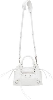 Balenciaga White Croc Mini Neo Classic Top Handle Bag