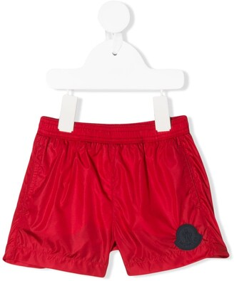 Moncler Enfant Logo Patch Elasticated Waist Swim Shorts