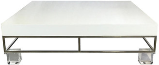 One Kings Lane Vintage Chrome & Lucite Lacquer Coffee Table - Jacki Mallick Designs - base, silver/clear; top, white