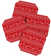 DENY Designs Natt Christmas Knitting Deer Coaster Set