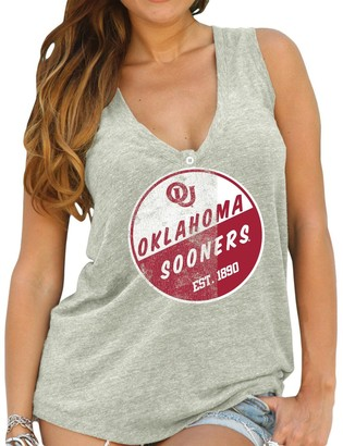 Original Retro Brand Unbranded Womens Oklahoma Sooners Natural Relaxed Henley Tank Top