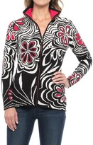 Icelandic Design Serendipity Abstract Floral Cardigan Sweater - Zip Front (For Women)
