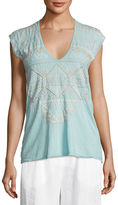 Johnny Was Colette Embroidered V-Neck Tee, Plus Size