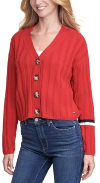 Tommy Jeans Cropped Textured Cardigan