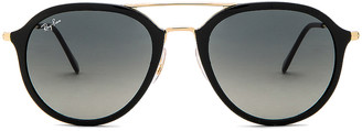 Ray-Ban Aviator Round Sunglasses in Black & Grey Gradient | FWRD