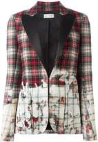 Faith Connexion distressed tartan print blazer