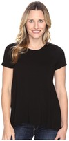 Vince Camuto Short Sleeve High-Low Hem Top with Woven Back