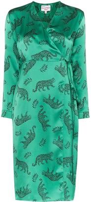 HVN Leopard Silk Wrap Dress