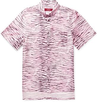 Sies Marjan Rooney Button-down Collar Tiger-print Silk-twill Shirt - Pink