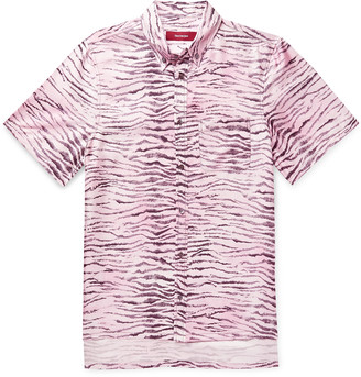Sies Marjan Rooney Button-Down Collar Tiger-Print Silk-Twill Shirt