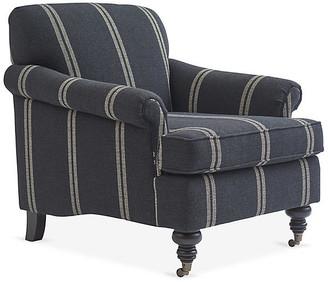 Kim Salmela Joplin Club Chair - Black/Ivory Double Stripe