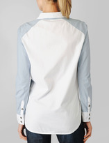 Paige Eden Colorblocked Shirt / Ava Chambray & White