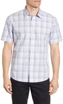 Zachary Prell Grafas Regular Fit Plaid Short Sleeve Button-Up Shirt