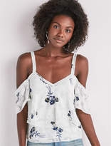 Lucky Brand Floral Jacquard Cold Shoulder Top