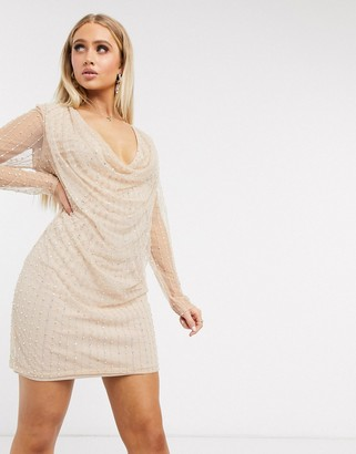Frock and Frill Club long sleeve deep cowl neck dress with pearl embellishment in blush