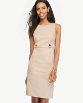 Ann Taylor Tall Cotton Sateen Button Tab Sheath Dress