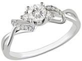 Diamond 10K White Gold Fashn Ring Silver