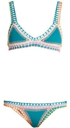 Kiini Liv Crochet Trimmed Triangle Bikini - Womens - Green Multi