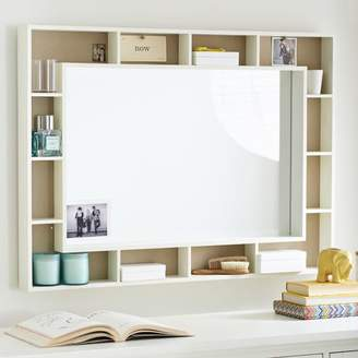 Pottery Barn Teen Pinboard Display Shelf Framed Mirror, Simply White