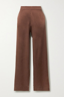 ASCENO Net Sustain London Washed-silk Pajama Pants - Brown