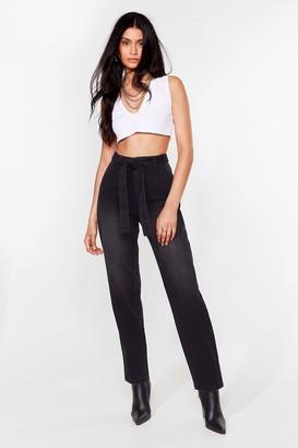 Nasty Gal Womens Let 'Em Tie Again Belted High-Waisted Jeans - Black - 6, Black
