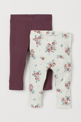H&M 2-pack Ribbed Leggings - Purple
