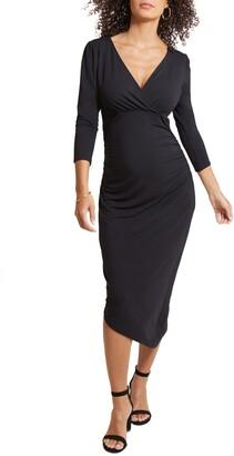 Ingrid & Isabel Asymmetrical Hem Midi Maternity/Nursing Dress